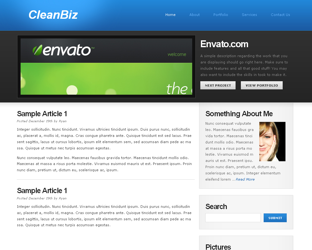 CleanBiz - This is the homepage of the blue version of CleanBiz.  It is a simple 2-column design with a nice content slider in the middle.