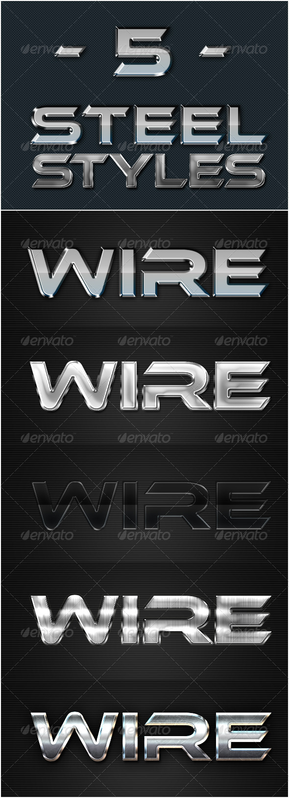 GraphicRiver 5 Steel Text Effect Photoshop Style 5650402
