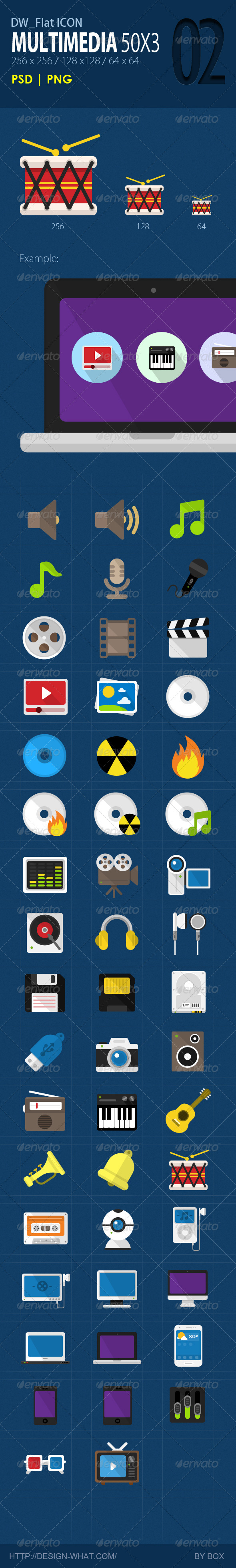 GraphicRiver 50 Flat Icons Multimedia 5651162