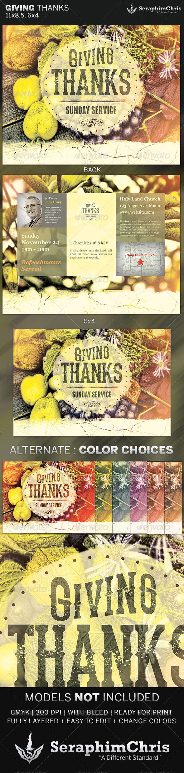 Giving Thanks: Harvest Church Flyer Template - Church Flyers