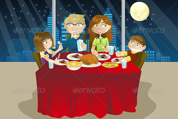 GraphicRiver Family Eating Dinner 5651677