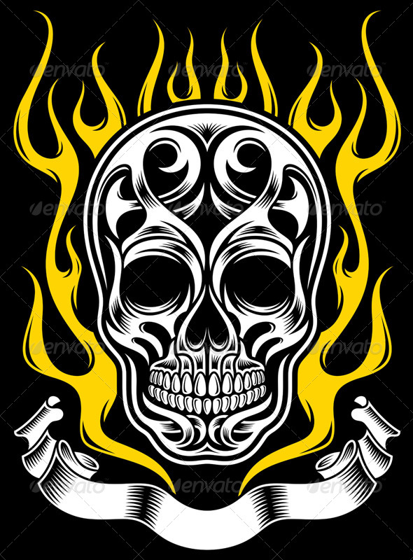 GraphicRiver Ornate Flame Skull Tattoo 5651705