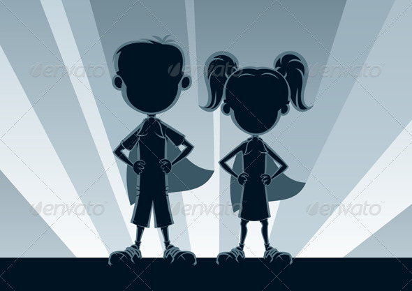 GraphicRiver Superkids Silhouettes 5653108