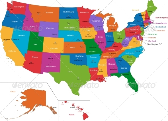 GraphicRiver Colorful USA Map 5653610