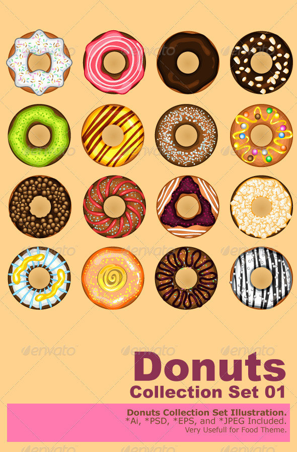 GraphicRiver Donuts Collection Set 5655052