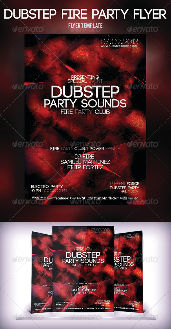 Dubstep Fire Party Flyer - Clubs & Parties Events