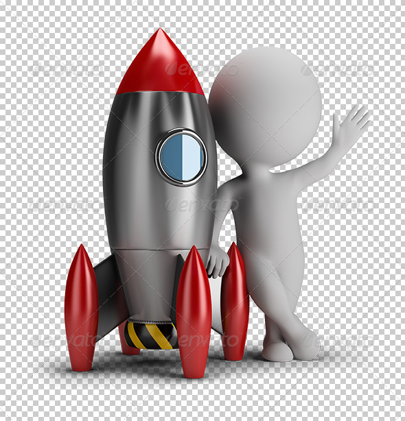 GraphicRiver 3D small people next to rocket 5655540
