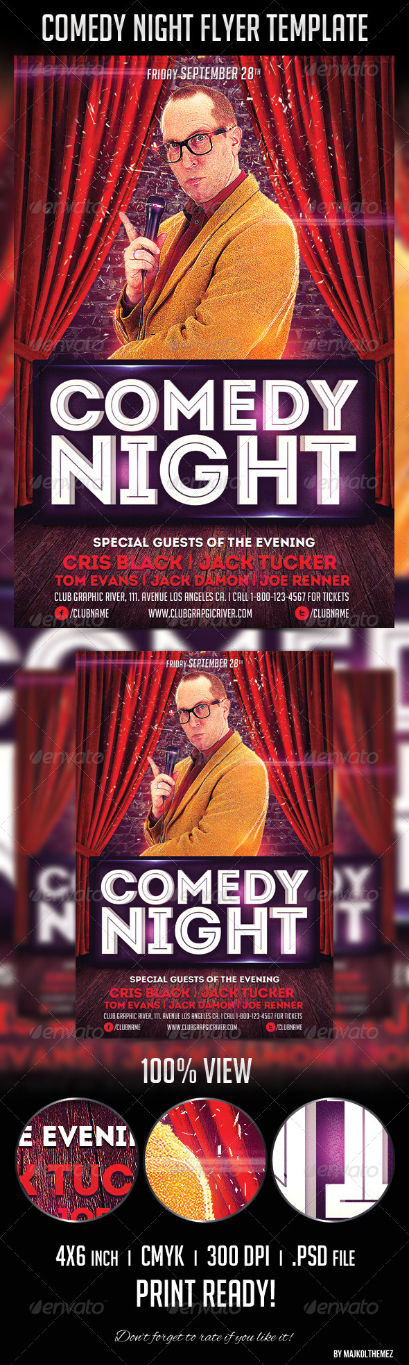 Comedy Night Flyer Template - Print Templates