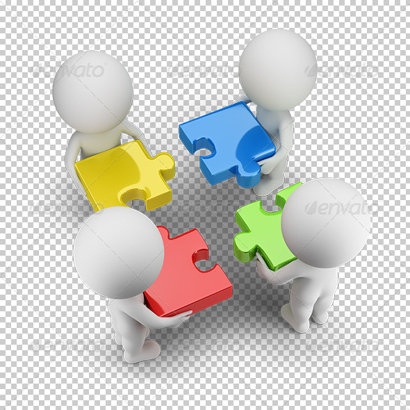 GraphicRiver 3D Small People Team with the Puzzles 5656208