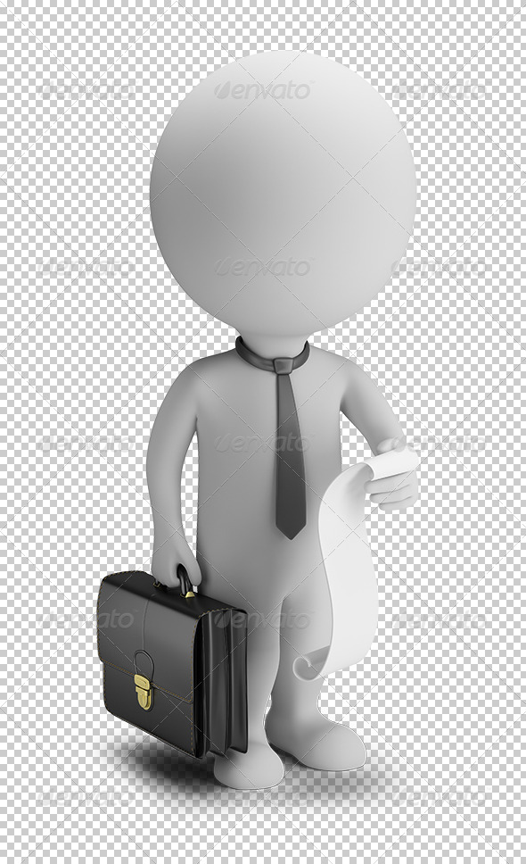 GraphicRiver 3D Small People Businessman with a List of Cases 5656534