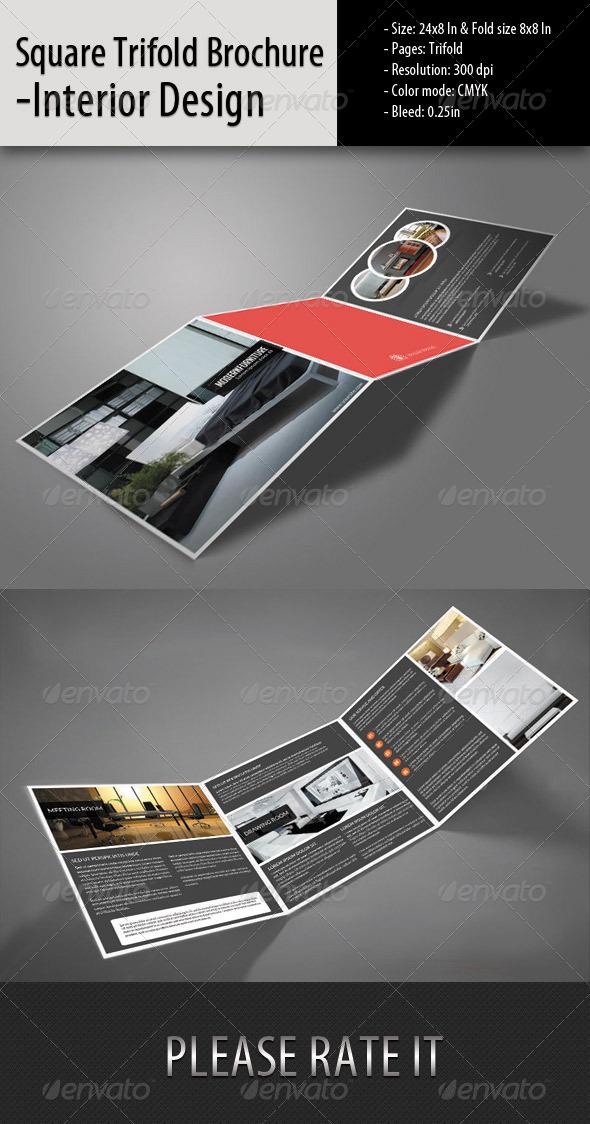 GraphicRiver Square Trifold Brochure-Interior Design 5656696
