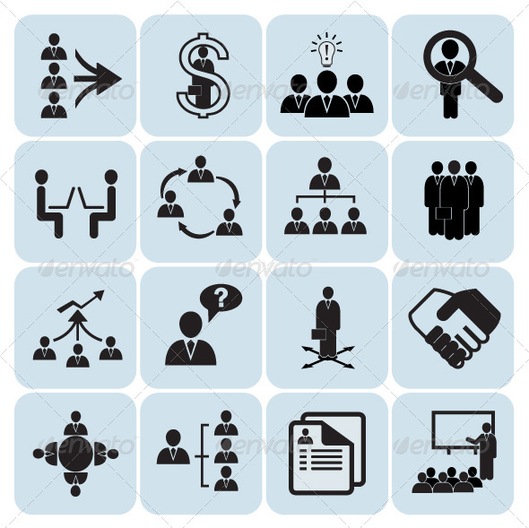 GraphicRiver Human Resources and Management Icons 5656983