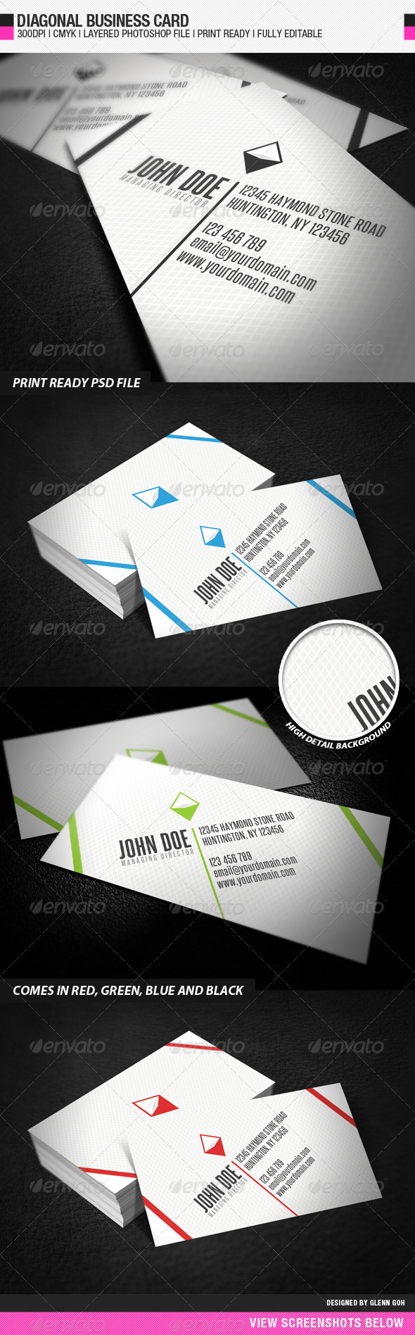 Diagonal Business Card - Creative Business Cards