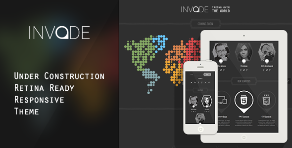 Invade - Responsive Retina Ready Coming Soon Theme - Under Construction Specialty Pages