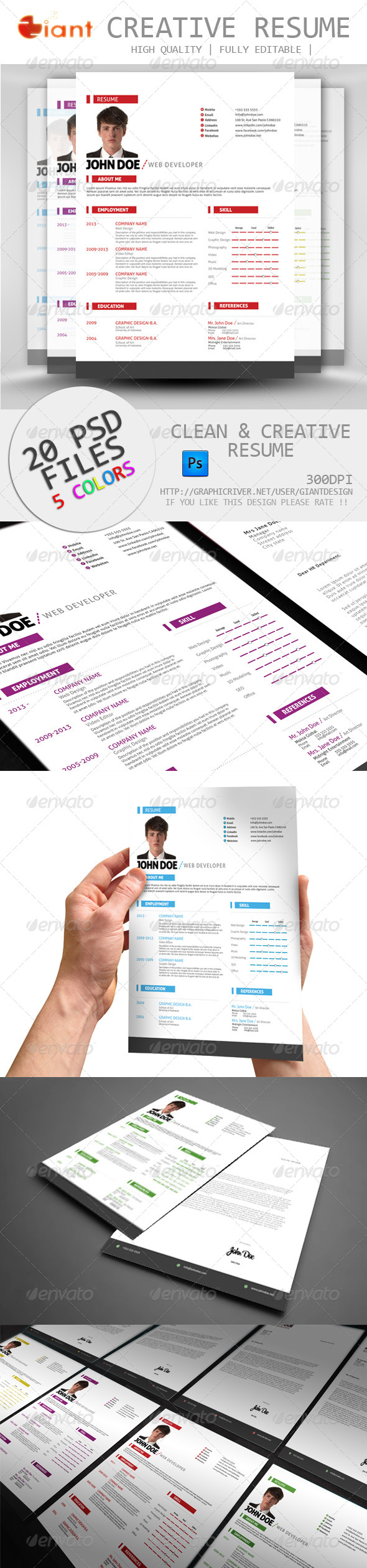 GraphicRiver 5 Colors Resume & Cover Letter 5657824