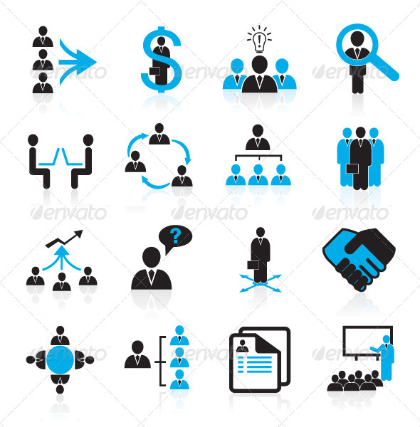 GraphicRiver Human Resources and Management Icons 5658263