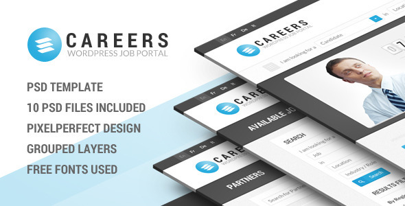 CAREERS is a Job Portal PSD Template that includes a wide range of features that enable an efficient filtering of vacancies The template has been conceived with
