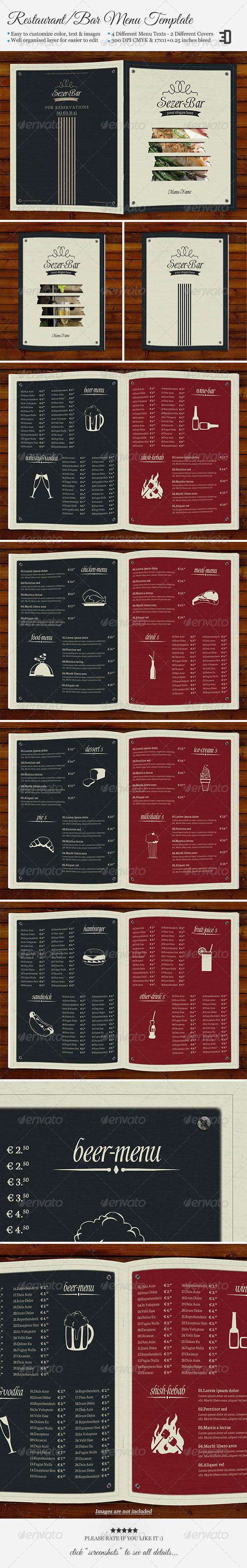 Restaurant/Bar Menu Template - Food Menus Print Templates