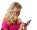 Girl is dialing on mobile phone - PhotoDune Item for Sale