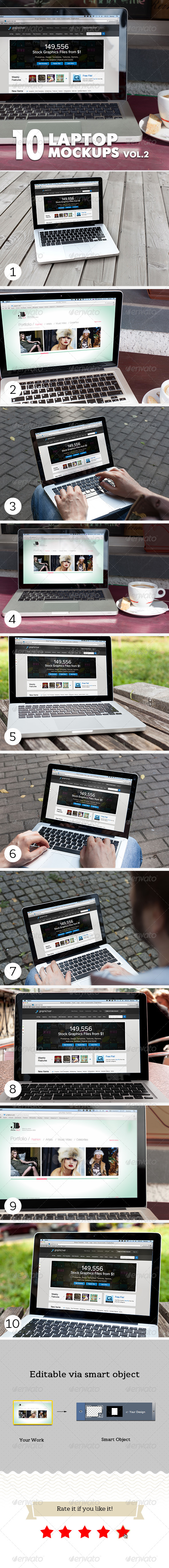 GraphicRiver 10 Laptop Mockups Vol.2 5659619