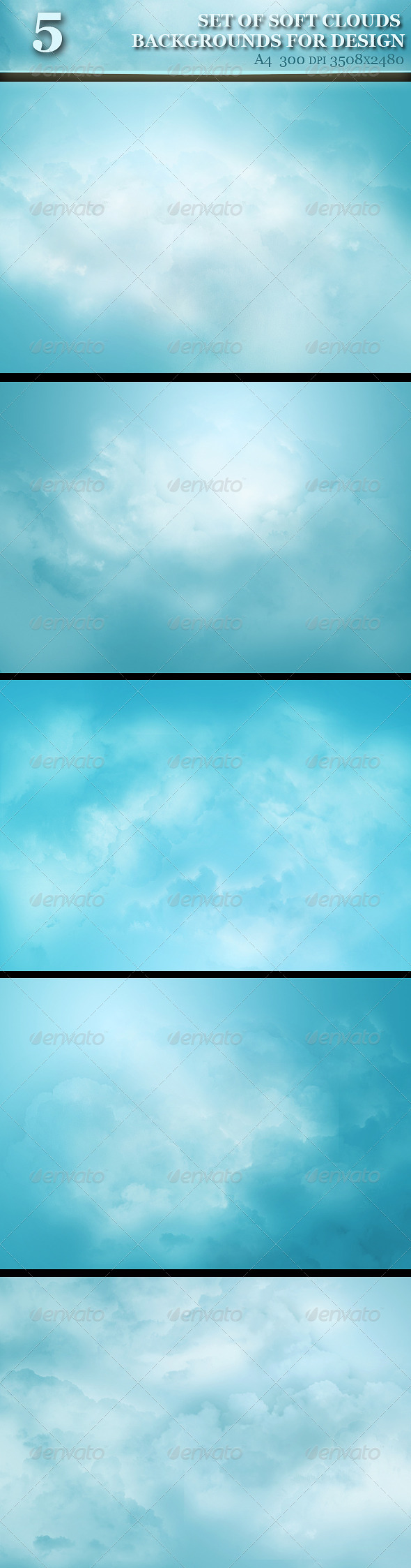 GraphicRiver Set of Soft Clouds Backgrounds for Design 5659895