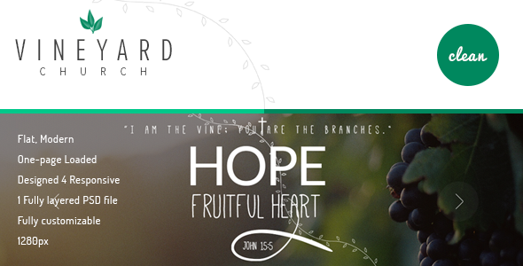 Vineyard Church - One Page Church PSD Template - Churches Nonprofit