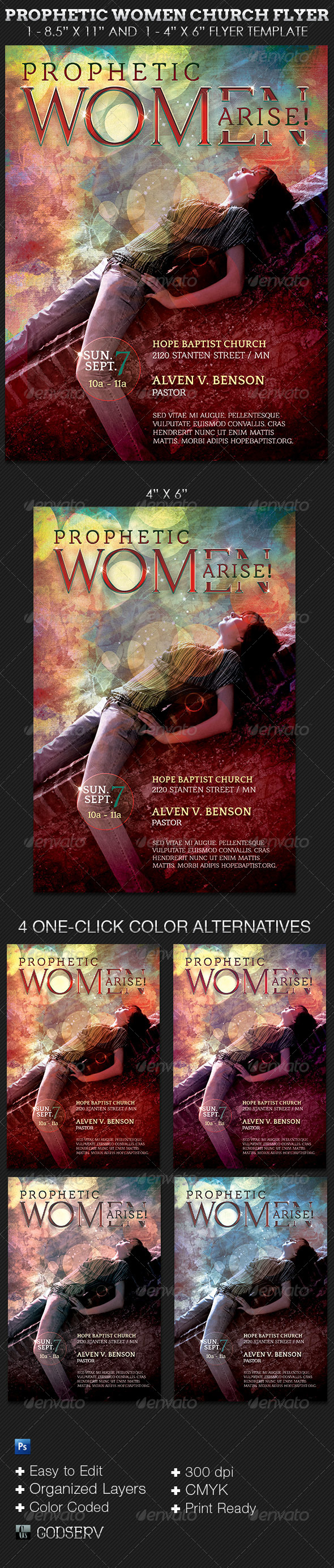 GraphicRiver Prophetic Women Church Flyer Template 5661679
