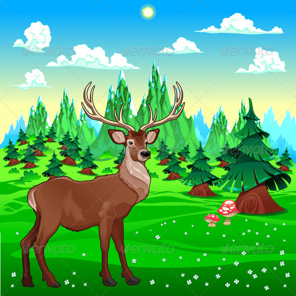 GraphicRiver Deer in Mountain Landscape 5662503