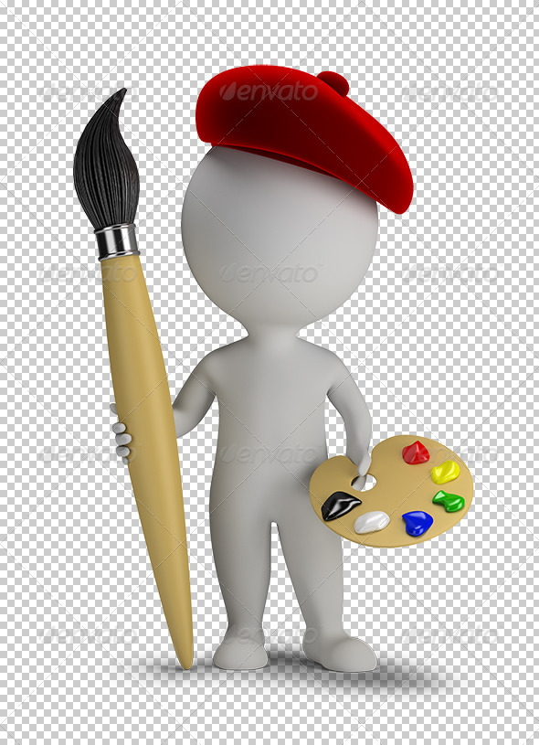 GraphicRiver 3D Small People Artist with a Large Brush 5662903