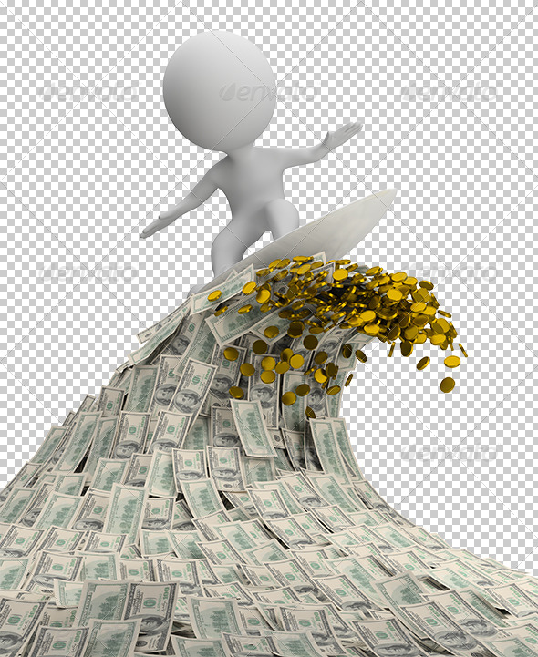 3D Small People Wave of Money