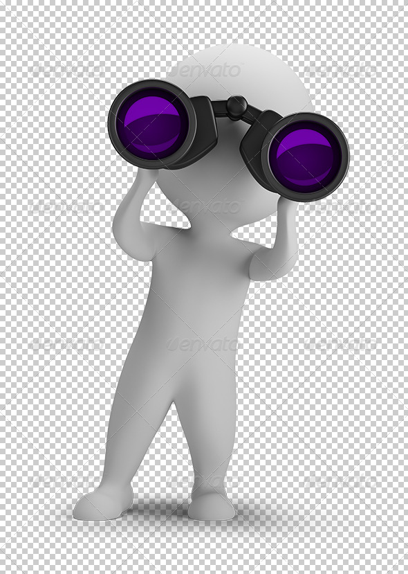 GraphicRiver 3D Small People Looking Through Binoculars 5663414