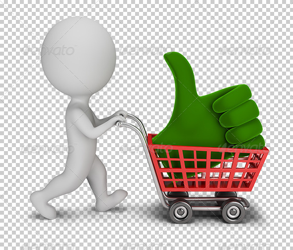 3D Small People Positive Symbol in the Cart