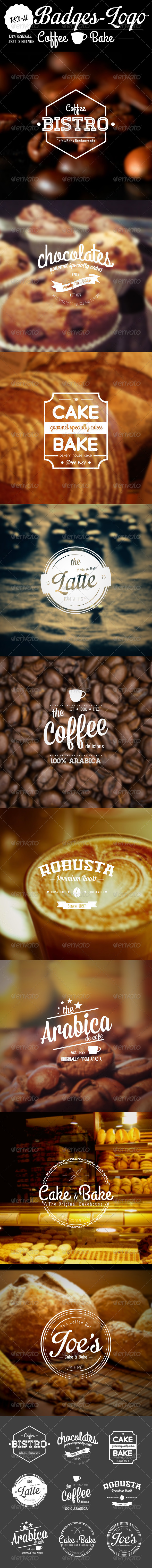 GraphicRiver 9 Badge-Logo Coffee and Bake 5663545