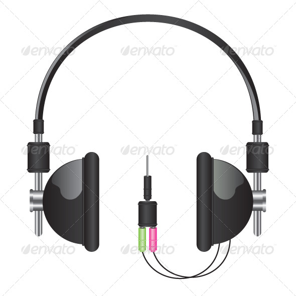 GraphicRiver Headphones Black Illustration 5663592