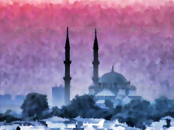 Watercolor Istanbul - Stock Photo - Images