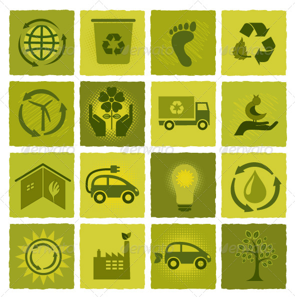 GraphicRiver Set of 16 Green Icons 5664047