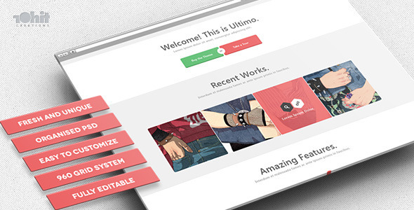 Ultimo is Multipurpose PSD theme. It includes 14 nice and clean PSD files. All layers are properly named and grouped for ease of customizations and edits. Featu