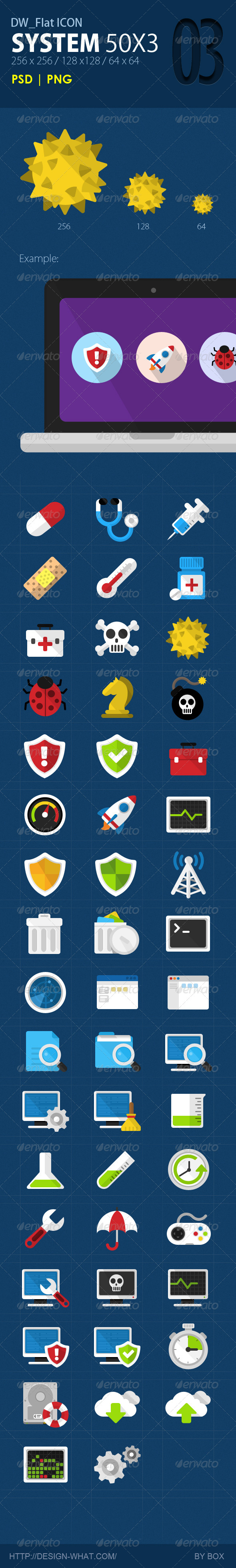 GraphicRiver 50 Flat ICONs System 5664402