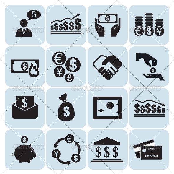 GraphicRiver Set of 16 Money and Finance Icons 5664867