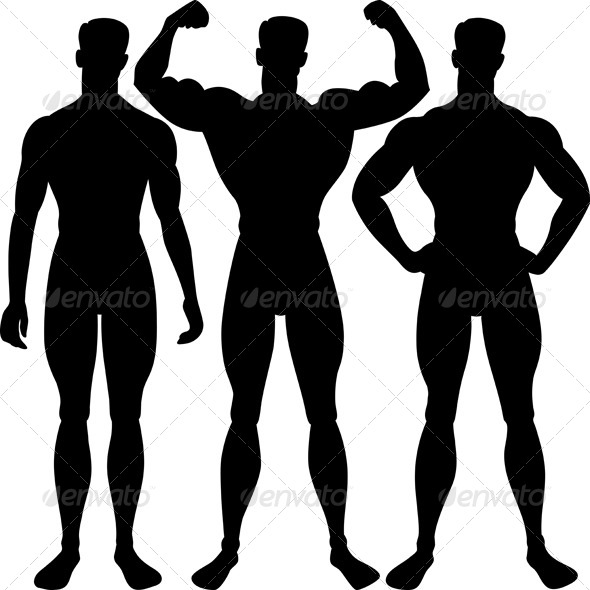 Vector Set Athletic Man Silhouette in Different Poses - People Characters