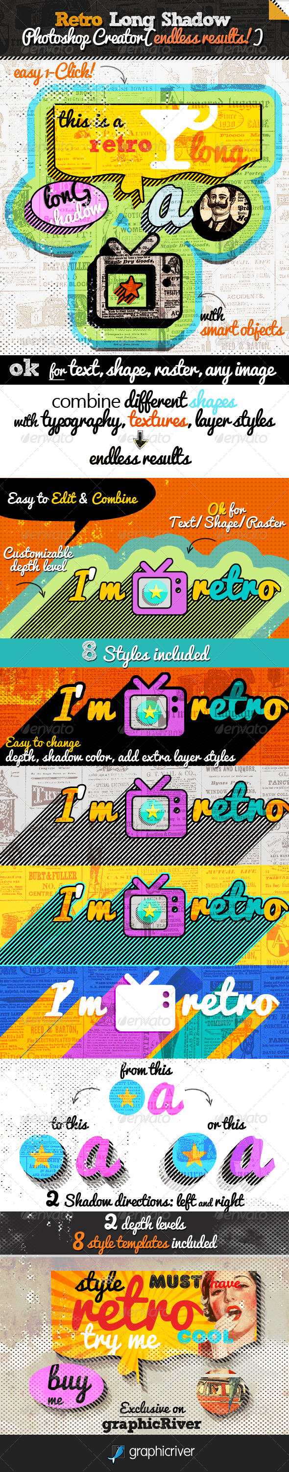 Retro Long Shadow Photoshop Creator - Text Effects Styles