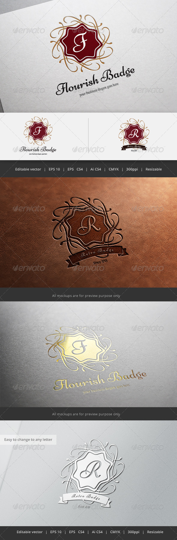 GraphicRiver Flourish Retro Badge Logo 5666275