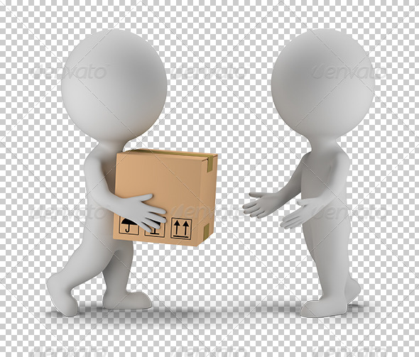 3D Small People Parcel Delivery