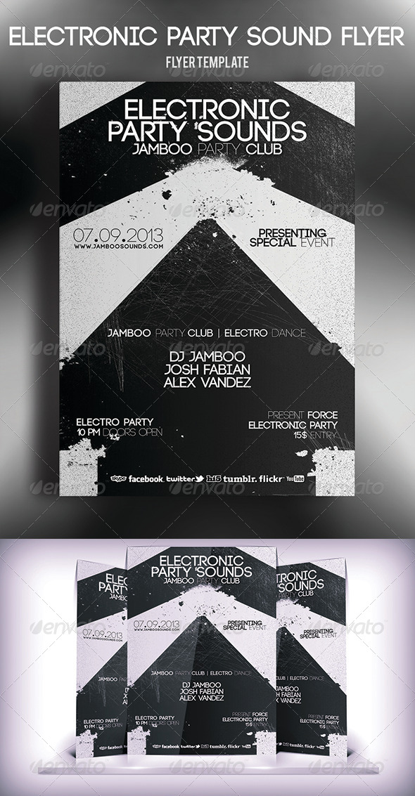 GraphicRiver Electronic Party Sound Flyer 5667224