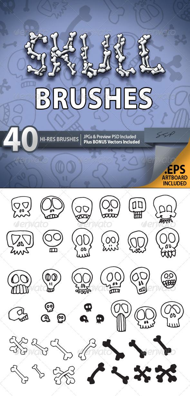 GraphicRiver 40 Hi Res Skull Sketch Brush Set 5669259