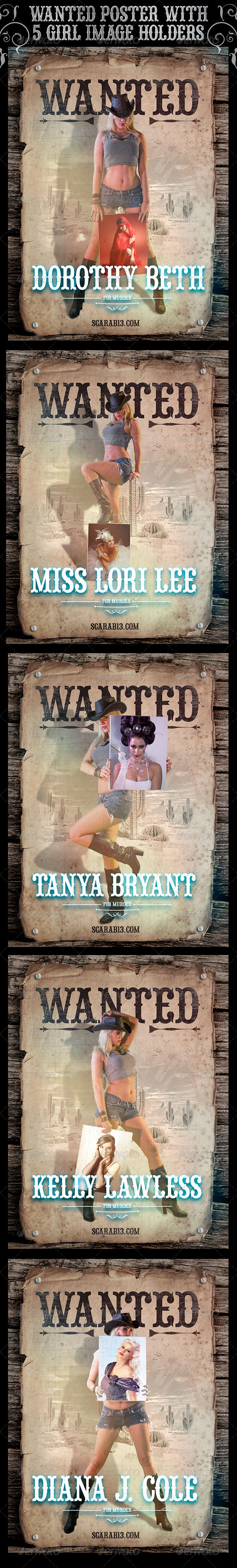 Wanted Poster with 5 Cowgirl ImageHolders - Posters Print
