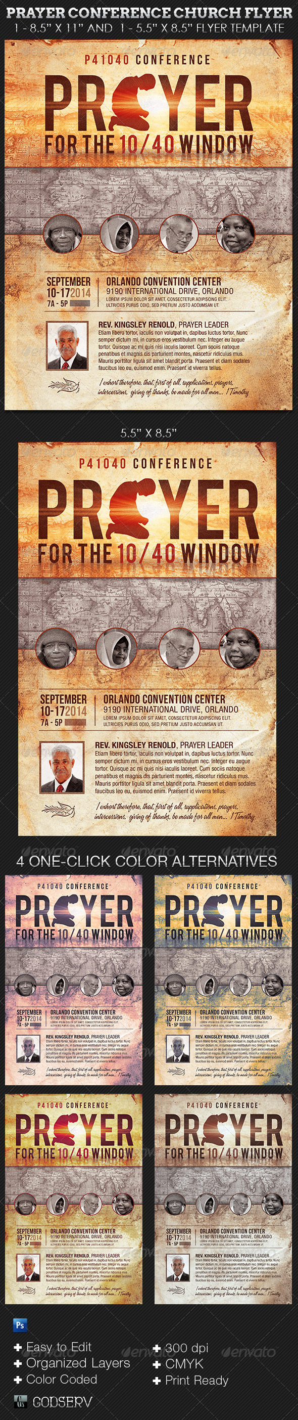 GraphicRiver Prayer Conference Church Flyer Template 5669557
