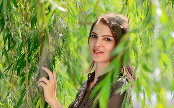 Woman in a Willow - Stock Photo - Images