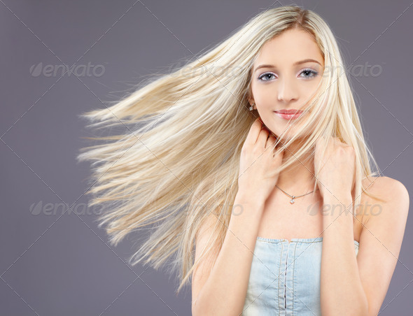 PhotoDune girl with fluttering hair 583372