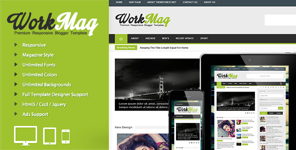 Workmag - Responsive Multipurpose Blogger Template